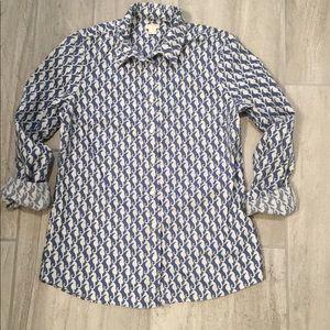 J Crew Seahorse Print Button Down Shirt S